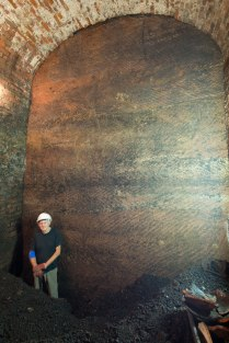 Williamson's workers hacked these flat walls out of the bedrock using pick axes.