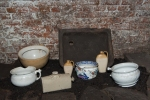 A Liverpool stone sink,  Chamber pots and bed warmer.