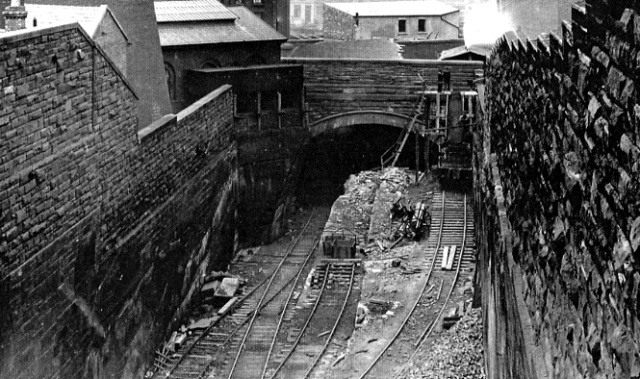 The railway tunnel, here being widened into a cutting, sliced right through Williamson's 'triple decker' tunnel