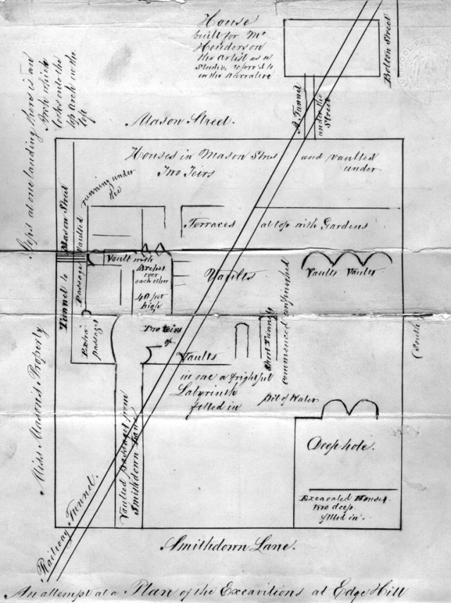 James Stonehouse's map from five years after the tunneling stopped
